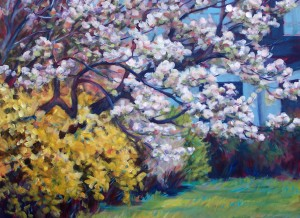 """Blossomland"", a 48 x 36 Acrylic on canvas, Silver Cross Hospital, New Lenox, Illinois"