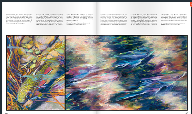 "The third spread in the spring issue of H2O shows a soft pastel ""Baby Brookie"" and an acrylic ""Phantoms of the Spring"" by Susan Luckey Higdon"