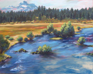 Metolius Meadow w/ Three-Fingered Jack, and original painting by Susan Luckey Higdon