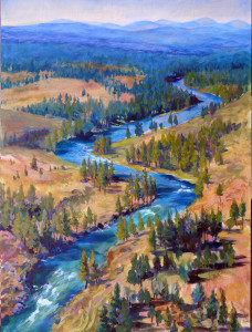 """Deschutes Serpentine"", an acrylic painting on cradled birch board by Susan Luckey Higdon"
