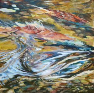 """September Spawn"", acrylic on cradled birch board. Spawning kokanee in Oregon's Deschutes River."