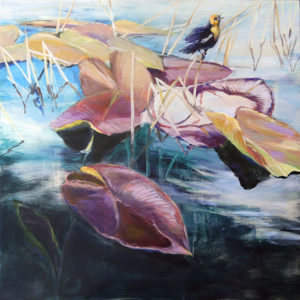 """""""Morning Song"""", acrylic on cradled birchboard by Susan Luckey Higdon. A Yellow Breasted Black Bird sings it's distinctive song among the waterlilly's at Hosmer Lake in Oregon's High Cascades"""